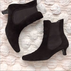 Ecco Black Suede Heeled Ankle Boots